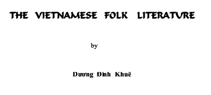 the vietnamese folk literature